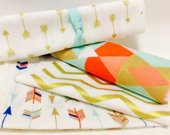 Gold Arrow Fabric Bundle with Coral and Pastel Mint Charm Pack for Nursery and Bedding, Crib and Baby Quilt Crafts by the Yard