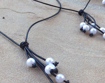 Leather Pearl Extension Necklace