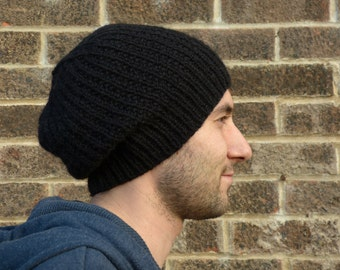 Hand Knitted Black Slouchy Beanie Hat