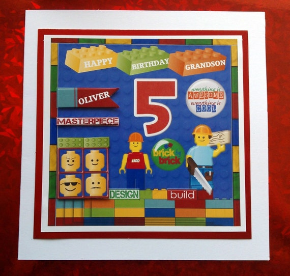 Personalised Lego Birthday Card Grandson son nephew – Lego Birthday Card