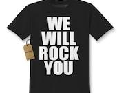 Kids's We Will Rock You T Shirt Unisex Youth Short Sleeve Rock Anthem Childrens Tshirt #1186