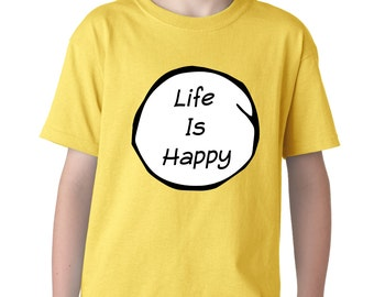 Kid's Life is Happy Shirt Printed Youth T-Shirt #1042 by Expression Tees Trending Clothing / Apparel USA Seller