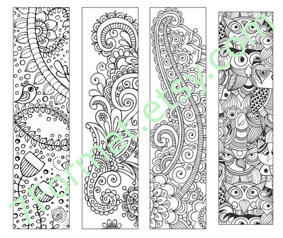Bookmarks Coloring Printable, Instant Download. 17.