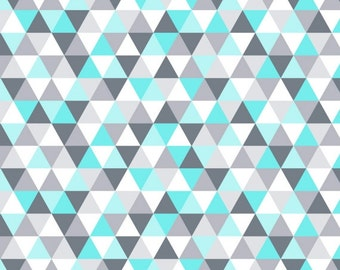 Triangle Fabric GEOMETRIC Fabric Modern Fabric Cotton baby Fabric Baby boy fabric Patchwork Fabric Quilting Fabric Blue White Gray HALF YARD