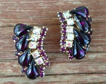 Vintage Juliana Style Royal Purple with Clear AB Rhinestone Earrings