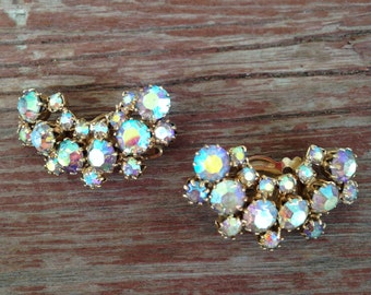 Beautiful Signed Weiss AB Rhinestone Crescent/Half Moon Earrings 0198