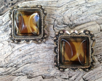 Vintage 1950's Chunky Thermoset Tortoise Brown Earrings