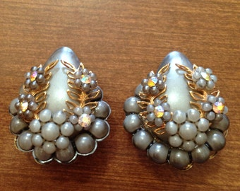 Vintage Haskell Style Grey Plastic, AB Rhinestone and Gold Metal Earrings 0408
