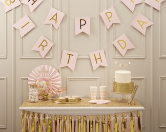 Pink Happy Birthday Foiled Bunting - Pastel Pink 2.5m Bunting