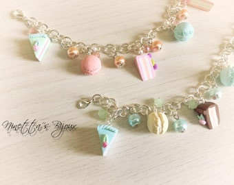 Bracelets with charms shaped cupcakes fimo colored pie wedges