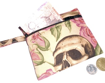 Skulls Resting In Roses Coin/Card Purse - Lined FREE POSTAGE