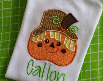 Boy Pumpkin Applique Shirt
