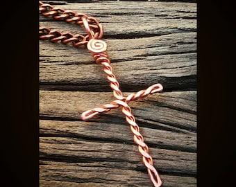 Cross necklace, cross pendant, cross jewelry, religious jewelry, Christian jewelry, religious gifts, copper wire cross, handmade cross