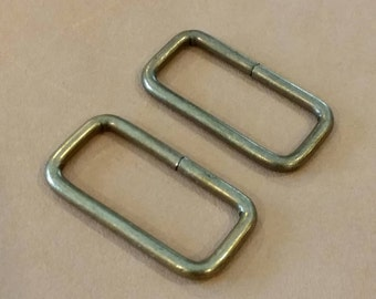 10 Pieces, 1.25 Inch/3.2 cm. (Inner) Antique Brass Rectangle Rings, Purse Making Accessories