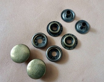20 sets, 12.5 mm. Snap Fasteners, Metal Snap Fasteners, Antique Brass Cap.