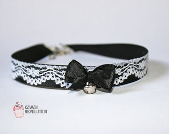 Choker Gothic Lolita Pastel Goth Black Collar Necklace with Lace Ribbon Bell petplay ddlg kitten play fetish bdsm