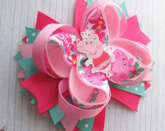 Peppa Pig hair bows Peppa pig birthday gift Peppa Pig party Peppa headband baby Peppa pig birthday outfit Peppa pig birthday decorations