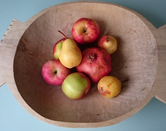 Vintage wood bowl, hand carved wood bowl, bread wood bowl