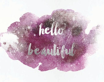 2 8x10 printable Set of 2 Hello Beautiful, Hello Handsome. Watercolor and Faux Silver Foil Lilac Wall Art, Digital Instant Download