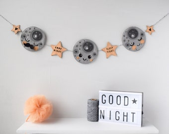 Man in the moon nursery garland, felt Star garland, Kawaii moon bunting, Children's room decor, moon nursery decor, Scandi Kids decor