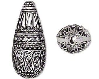 Antiqued Silver Teardrop, Filigree Teardrop, 35x15mm, 1 each, D823