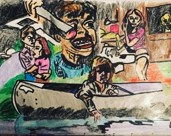 Friday the 13th homage montage in pencil, crayon and marker