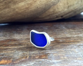 Blue Sea Glass Ring, Sterling Silver Seaglass Ring, Sea Glass Ring