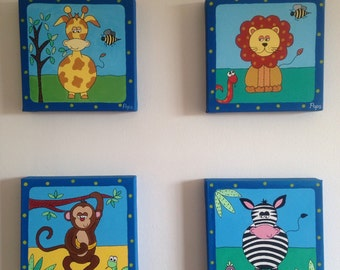 Nursery Safari Friends Paintings