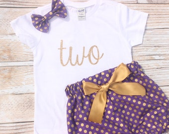 Purple First Birthday Outfit, Girls Birthday, Baby bloomers, 2nd birthday outfit, toddler birthday