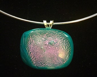 Fused glass pendant in purples and blues