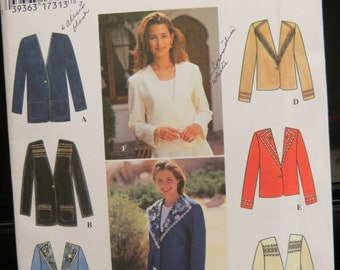 Vintage UNCUT 1995 Simplicity Pattern 9826, Misses Decorated Jacket, Size 12,14,16
