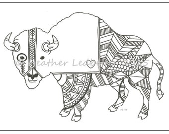 Native Buffalo Coloring Page