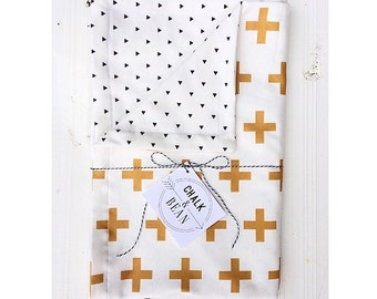 Organic revirsible Triangle & Plus sign blanket, plus sign blanket, cross blanket, triangle blanket, Mustard yellow, black and white