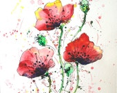 Red Poppies painting, Poppies original painting, Red poppies wall art, flower painting, colorful painting, flower, watercolour painting