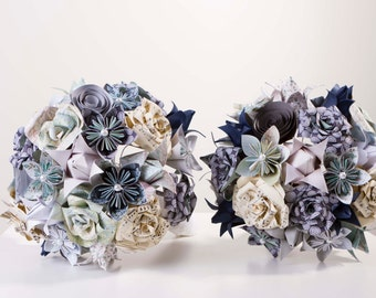 Paper flower bouquet, Mixed origami flower bouquet featuring Map roses, Kusudama flowers, spiral roses, and origami tulips.