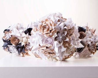 Paper flower bouquet, Bridal flower set, Origami bouqet, Origami package, paper flower package, wedding flowers, tan, white and black