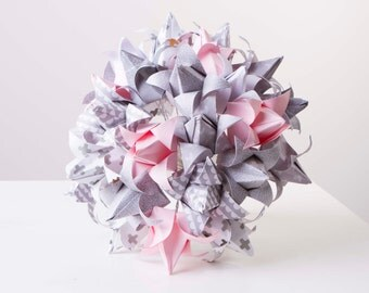 Paper flower bouquet, Pink, grey and white origami tulips, origami bouquet, wedding bouquet, alternative wedding bouquet