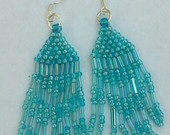 2-E3124-5:  Aqua Blue -Native American Style Earrings