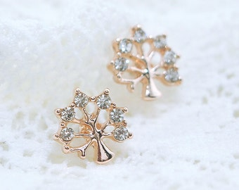 Lovey Tree Earrings, Crystal Earrings, Gold Earrings, Tree Earrings, Tree Jewelry, Gold Jewelry, Hypoallergenic, Tree, Stud, Rose Gol