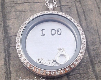 Bride Floating Locket, Bride Locket, Bride Necklace, I Do Necklace, Bridal Locket, Bridal Shower Gift, Wedding Locket, Bride Gift, I Do Gift