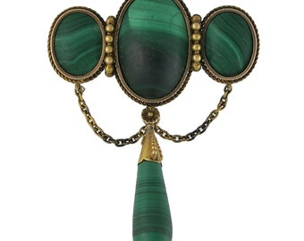 Victorian 14K Gold Malachite Brooch With Drop and Swags