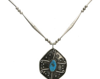 Large Vintage Sterling Turquoise Pendant on Chain
