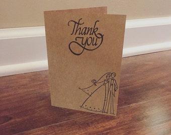 Wedding Thank You Cards, Bulk Thank You Cards, Wedding Thank Cards, Thank You Notes, Hand Stamped Thank You Notes, Kraft Cards, Kraft Paper