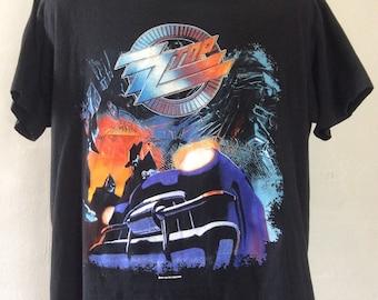 Vtg 1990 ZZ Top Recycler World Tour Concert T-Shirt Black L/XL 90s Spring Ford