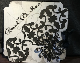 """Black and white """"Best Wishes"""" card"""