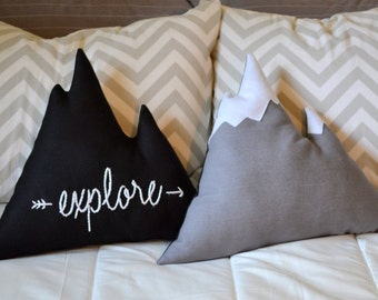 Mountain pillow Explore or Dream big hand embroidered inspirational quote - Nursery decor, mountain cushion, cabin pillow - by Cabin Studio
