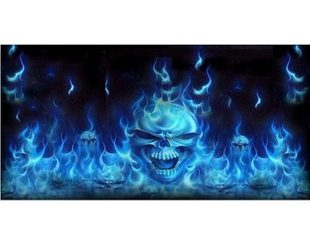 Blue Flaming Skulls Photo License Plate - LPO2201
