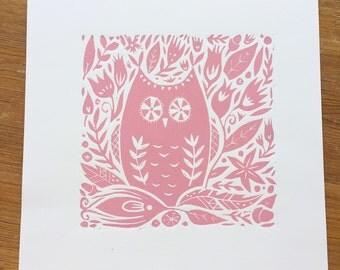 Pink Owl Lino Print
