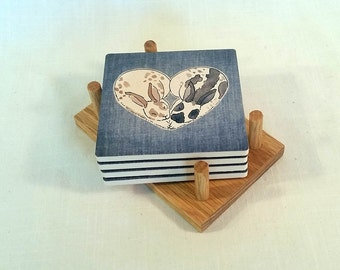 Heart Bunny Coasters - Breath of Life Collection - set of 4