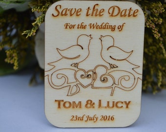 Wedding Save The Date Magnets, With A Lovebird Design.